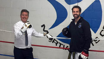 Keith with Adam Paterson at the Scottish Martial Arts Centre